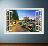 3D Canal Boat Window Wall Sticker WSD242