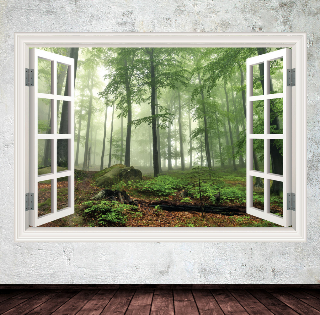 3D Forest Window Wall Sticker WSD4