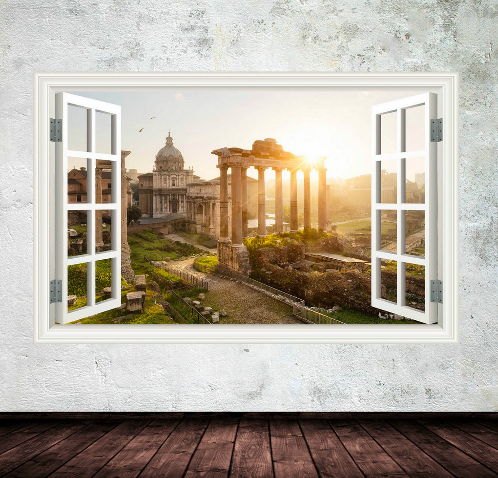3D Ancient Italy Window Wall Sticker WSD235