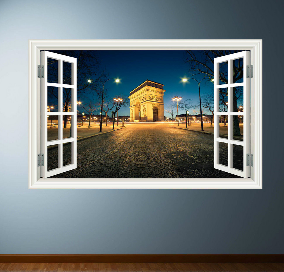 3D Paris Arc De Triomphe Window Wall Sticker WSD336