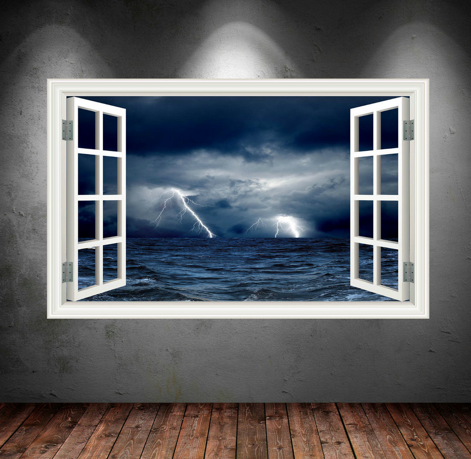 3D Night Sky Stormy Sea Window Wall Sticker WSD24