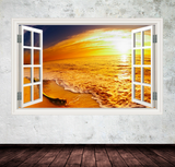 3D Paradise Sunset Beach Window Wall Sticker WSD45