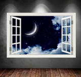 3D Night Sky Moon Window Wall Sticker WSD396