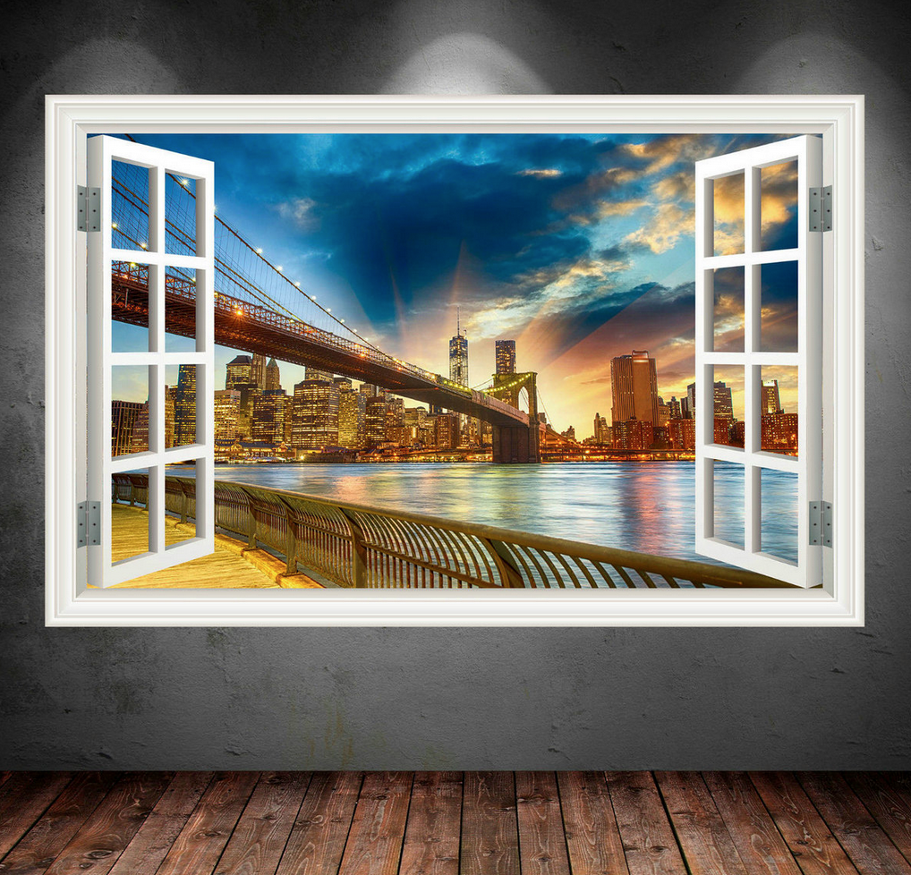 3D New York Bridge Window Wall Art Sticker WSD38