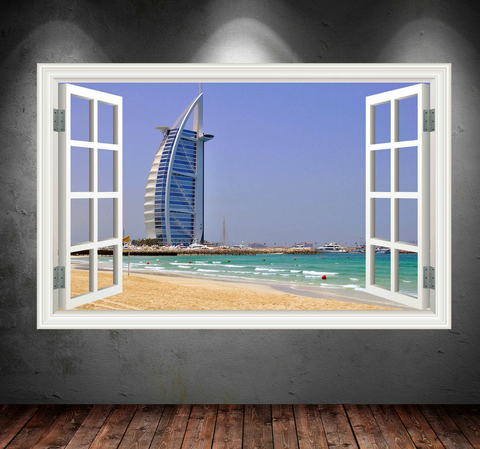 3D Burj Al Arab Dubai Window Wall Sticker WSD44