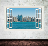 3D Skyline Dubai Sea Window Wall Sticker WSD41