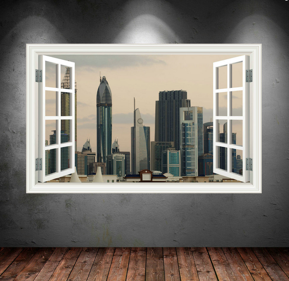 3D City Skyline Dubai Window Wall Sticker WSD37