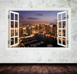3D Skyline Malaysian City Window Wall Sticker WSD555