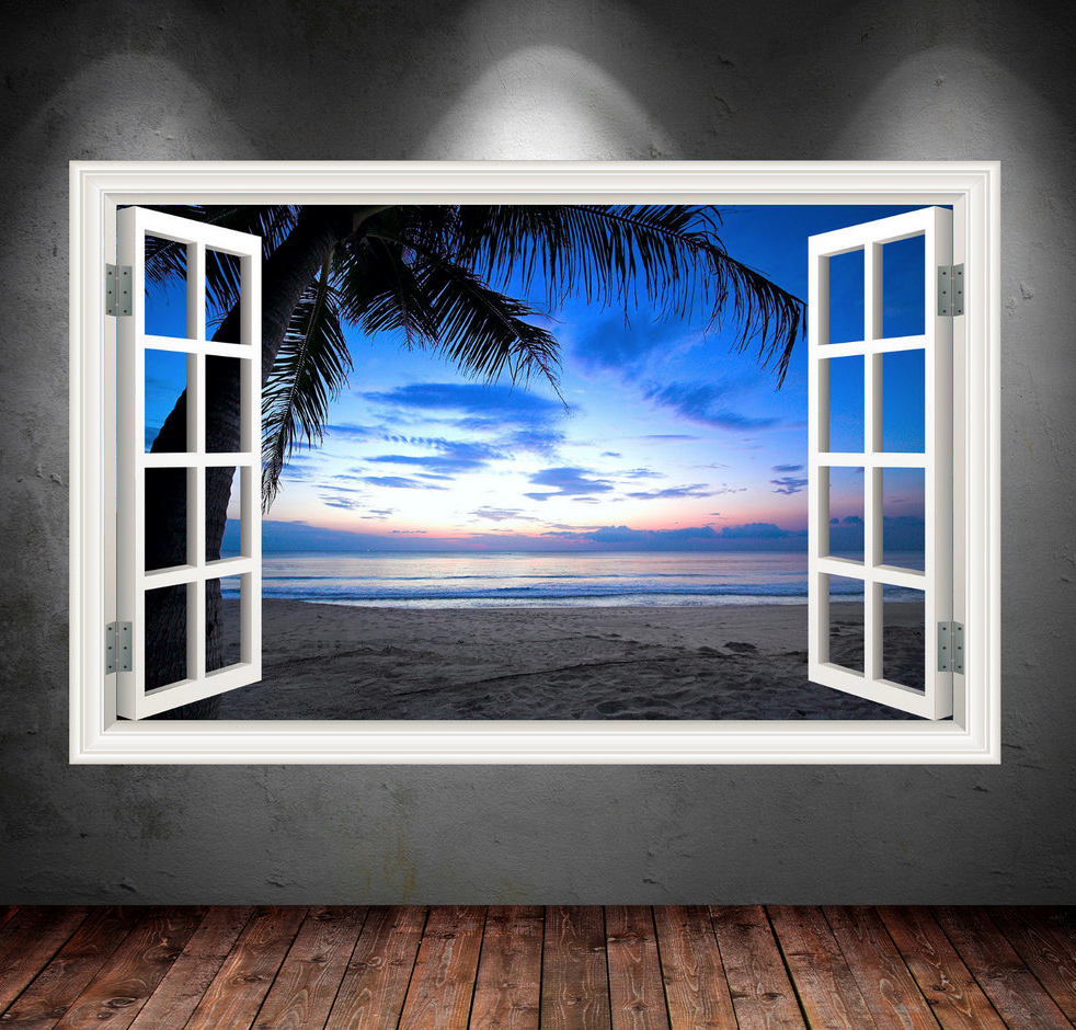 3D Sunset Beach Window Wall Sticker WSD549