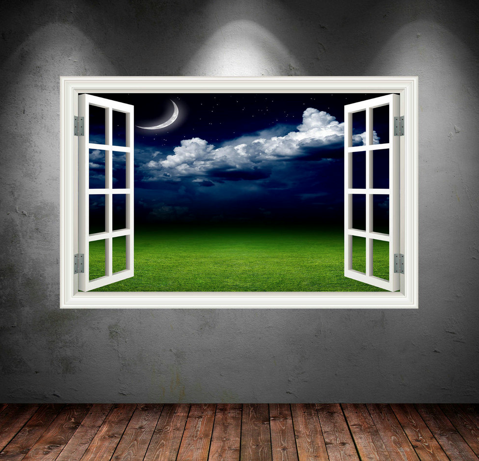 3D Night Sky Moon Window Wall Sticker WSD29