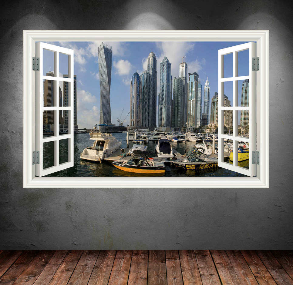 3D Dubai Skyline Window Wall Sticker WSD253