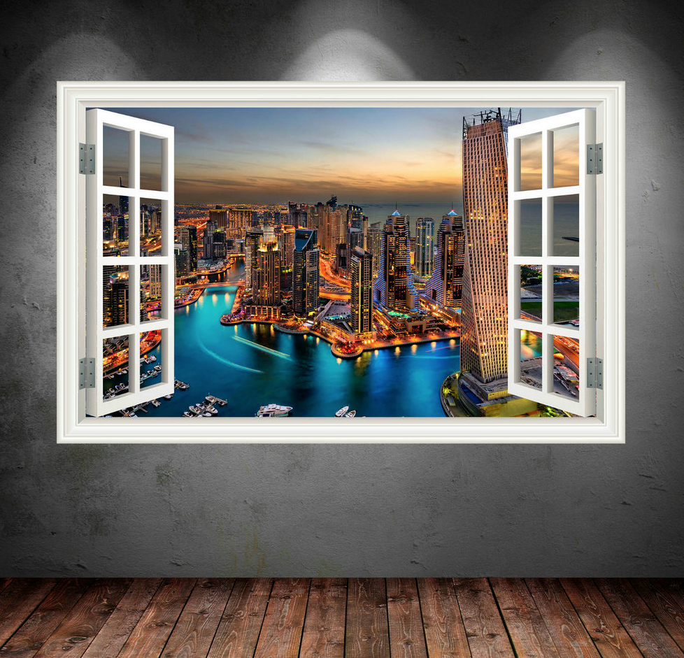 3D Dubai City Skyline Window Wall Sticker WSD31