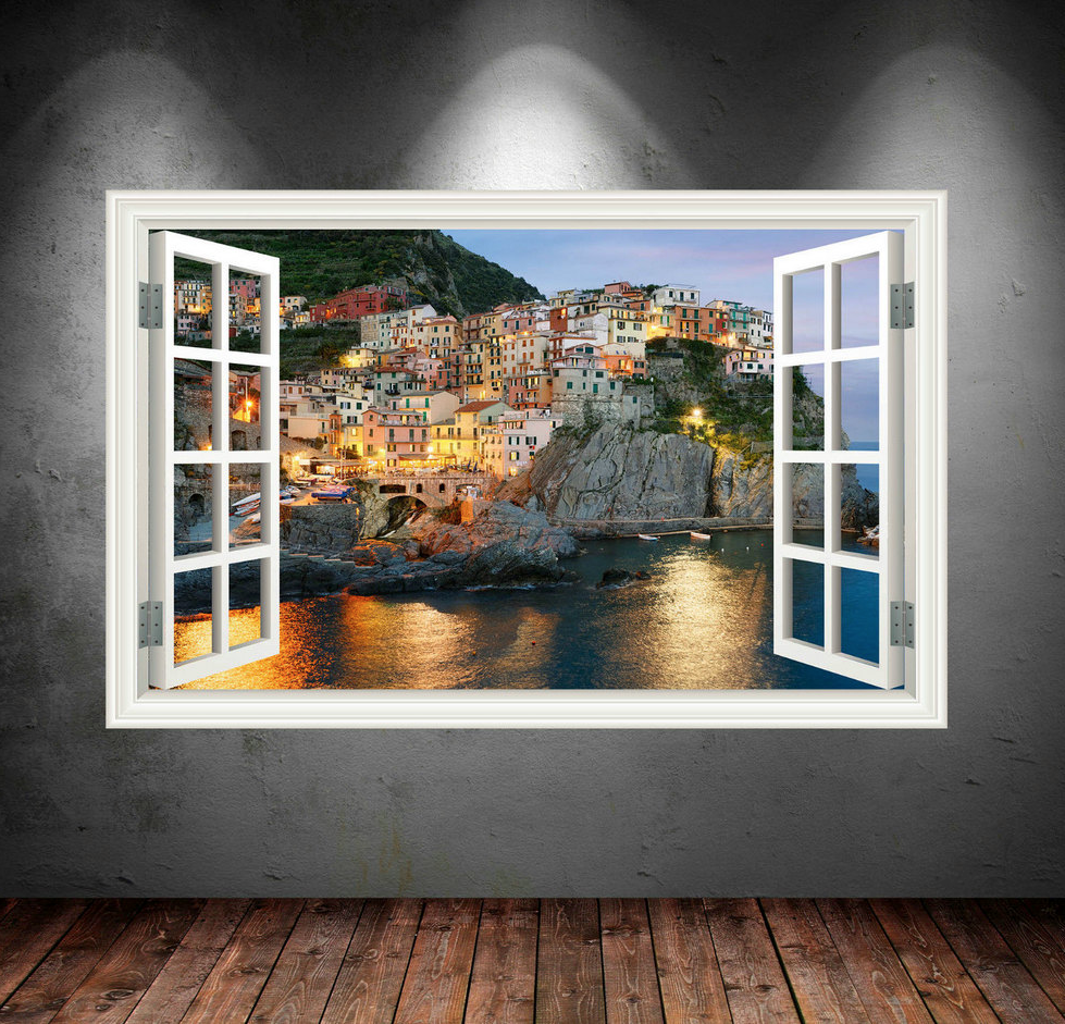 3D Greece Cliffs Window Wall Sticker WSD25