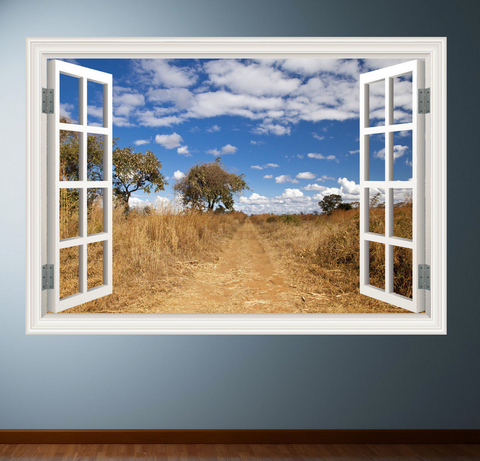 3D African Wild Grass Window Wall Sticker WSD233