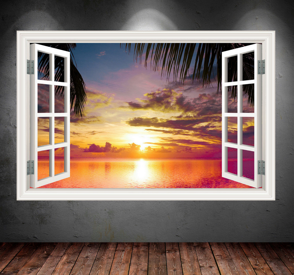 3D Paradise Sea Sunset Window Wall Sticker WSD548