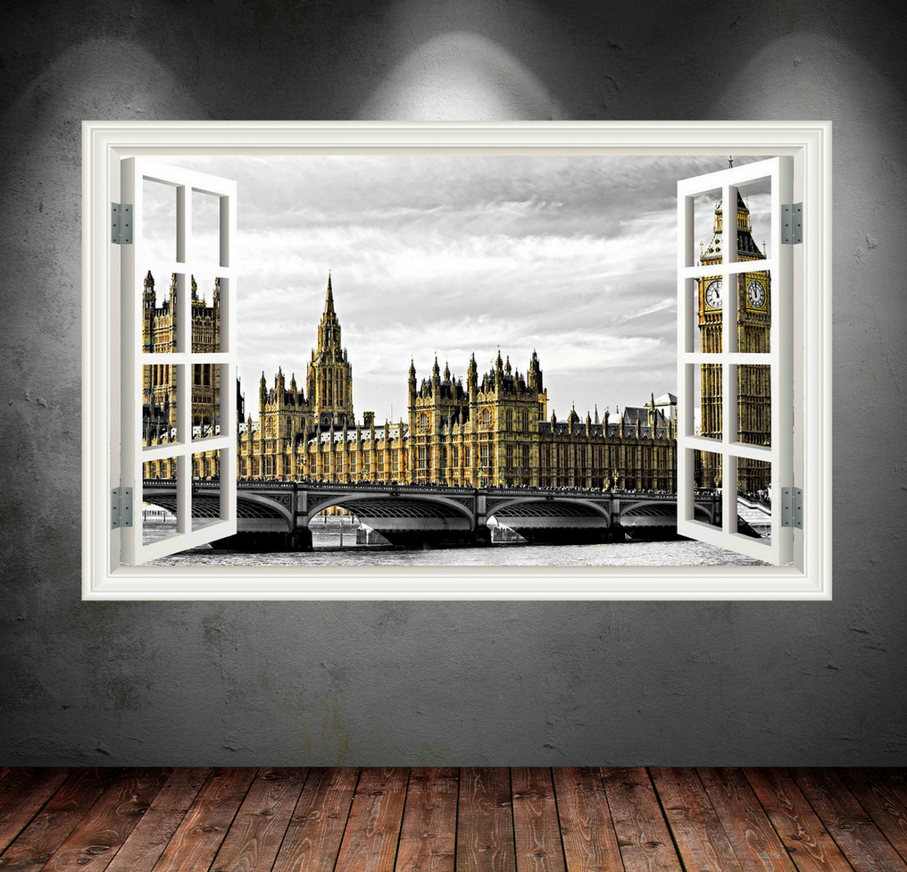 3D Big Ben London Window Wall Sticker WSD50