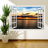 3D Sunset Paradise Window Wall Sticker RW WSD359