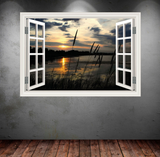 3D Sunset Lake Window Wall Sticker RW WSD350