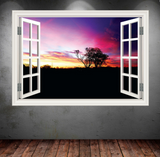 3D Paradise Sunset Window Wall Sticker RW WSD353