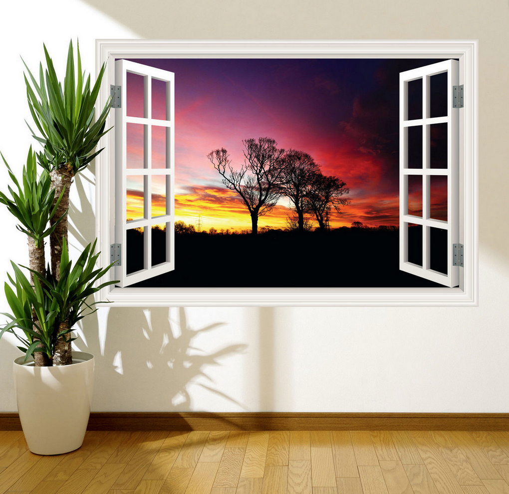 3D Sunset Window Wall Sticker RW WSD361