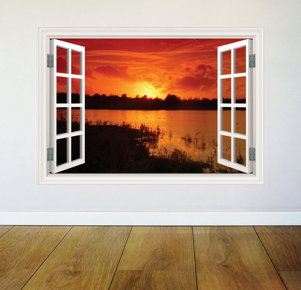 3D Paradise Sunset Window Wall Sticker RW WSD352