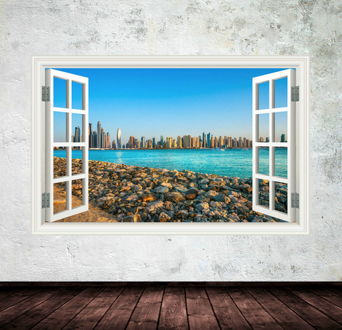 3D Dubai City Skyline Sea Window Wall Sticker WSD252