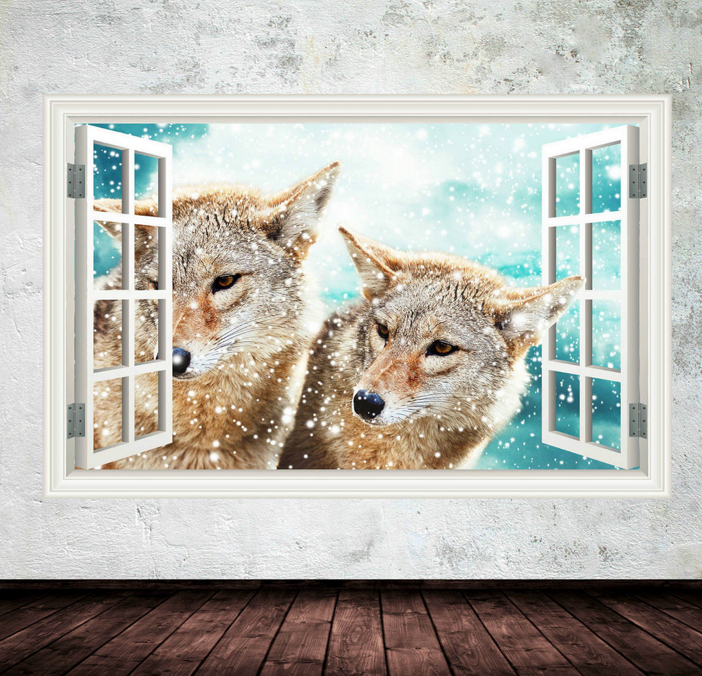 3D Fox Window Wall Sticker WSD260