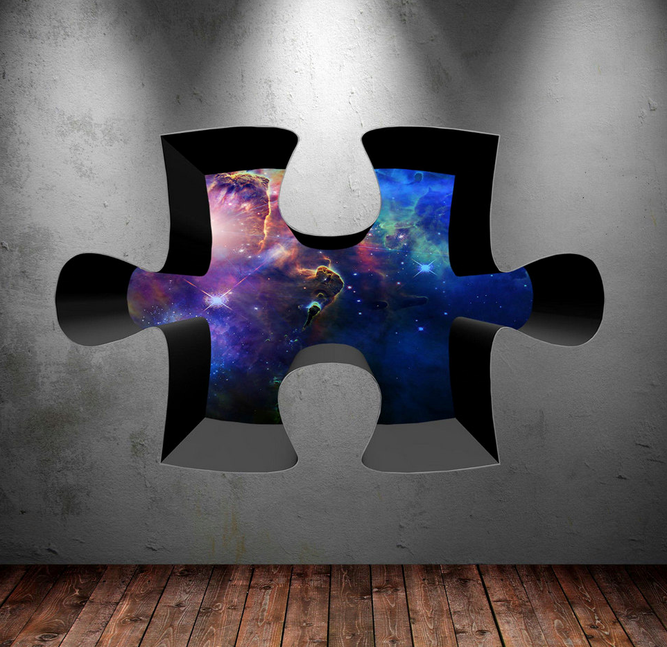 3D Jigsaw Space Wall Sticker WSD320