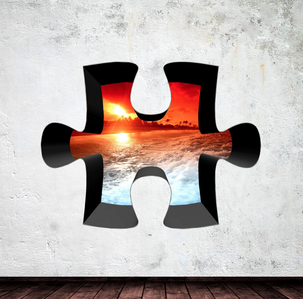 3D Jigsaw Caribbean Sunset Wall Sticker WSD307