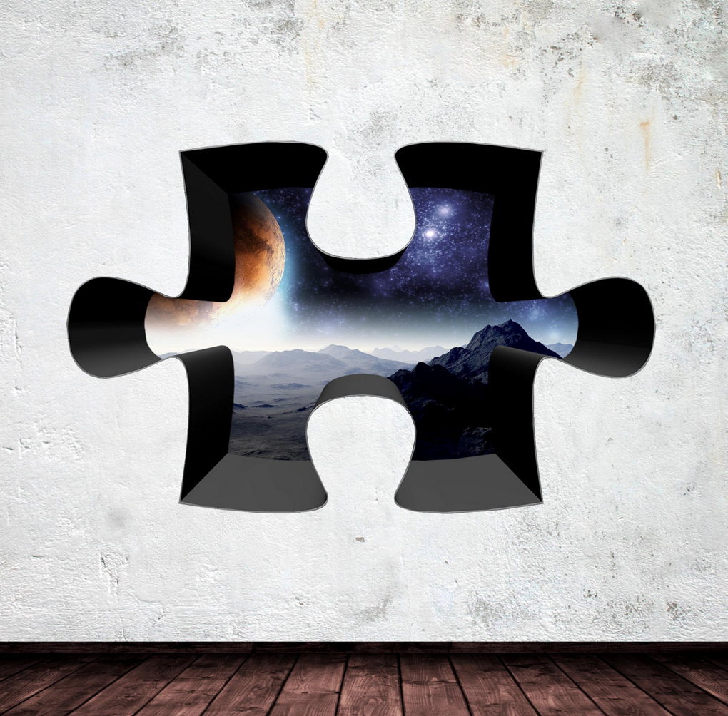 3D Jigsaw Space Wall Sticker WSD328