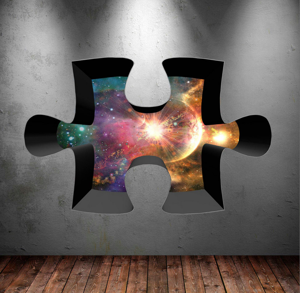3D Jigsaw Space Wall Sticker WSD329