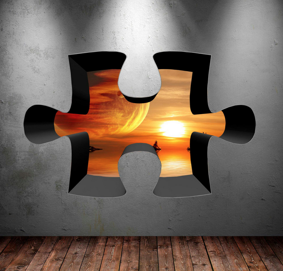 3D Jigsaw Space Wall Sticker WSD331