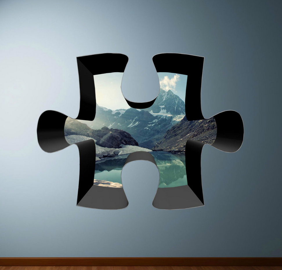 3D Jigsaw Mountain Lake Wall Sticker WSD314