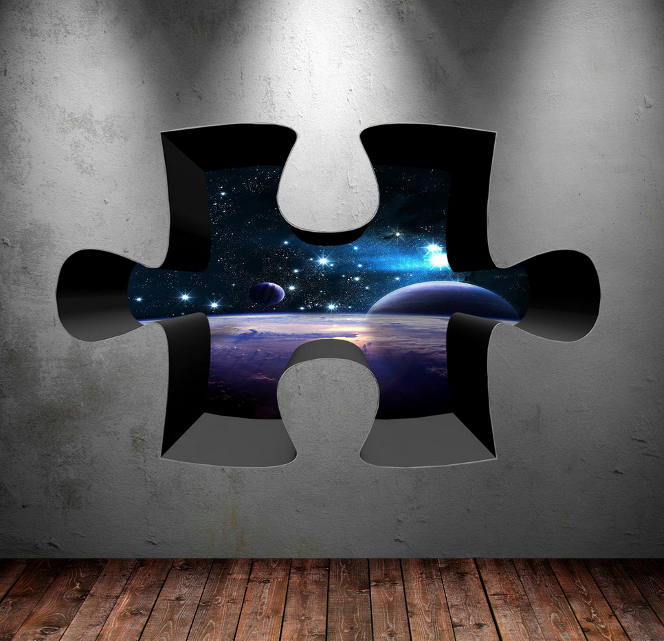 3D Jigsaw Space Planet Wall Sticker WSD184