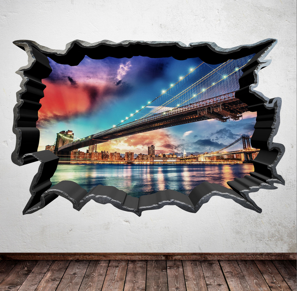 3D Skyline City Wall Sticker WSD559