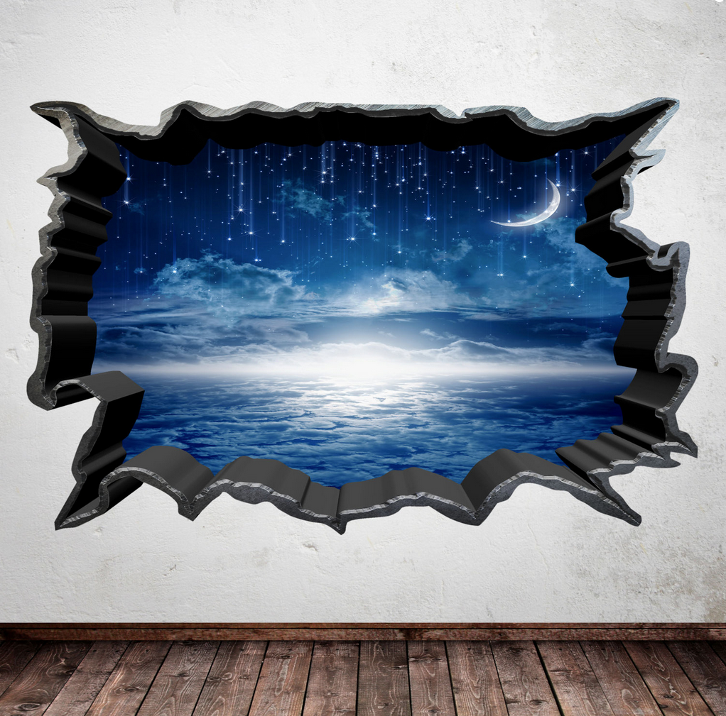3D Moon Stars Wall Sticker WSD389