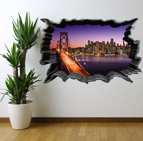 3D City Bridge Wall Sticker WSD243