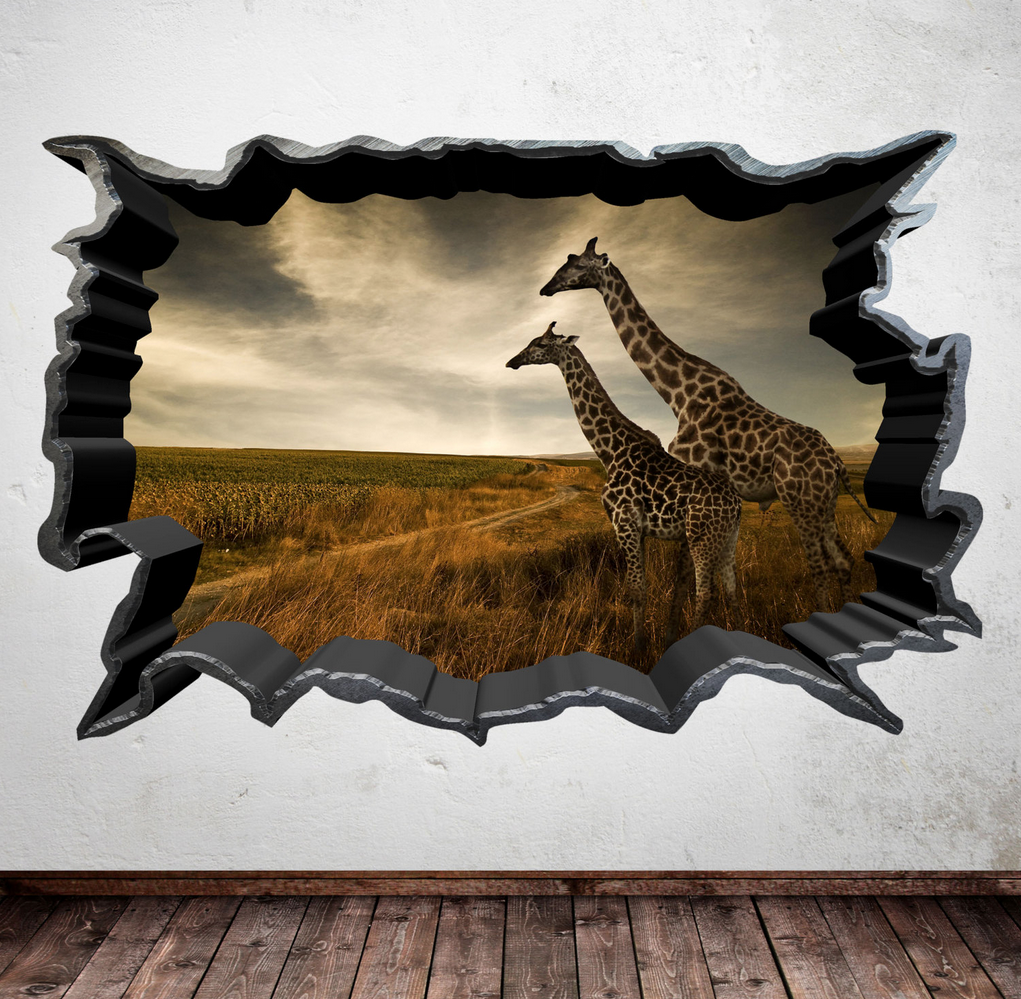 3D Wild Giraffe Wall Sticker WSD620