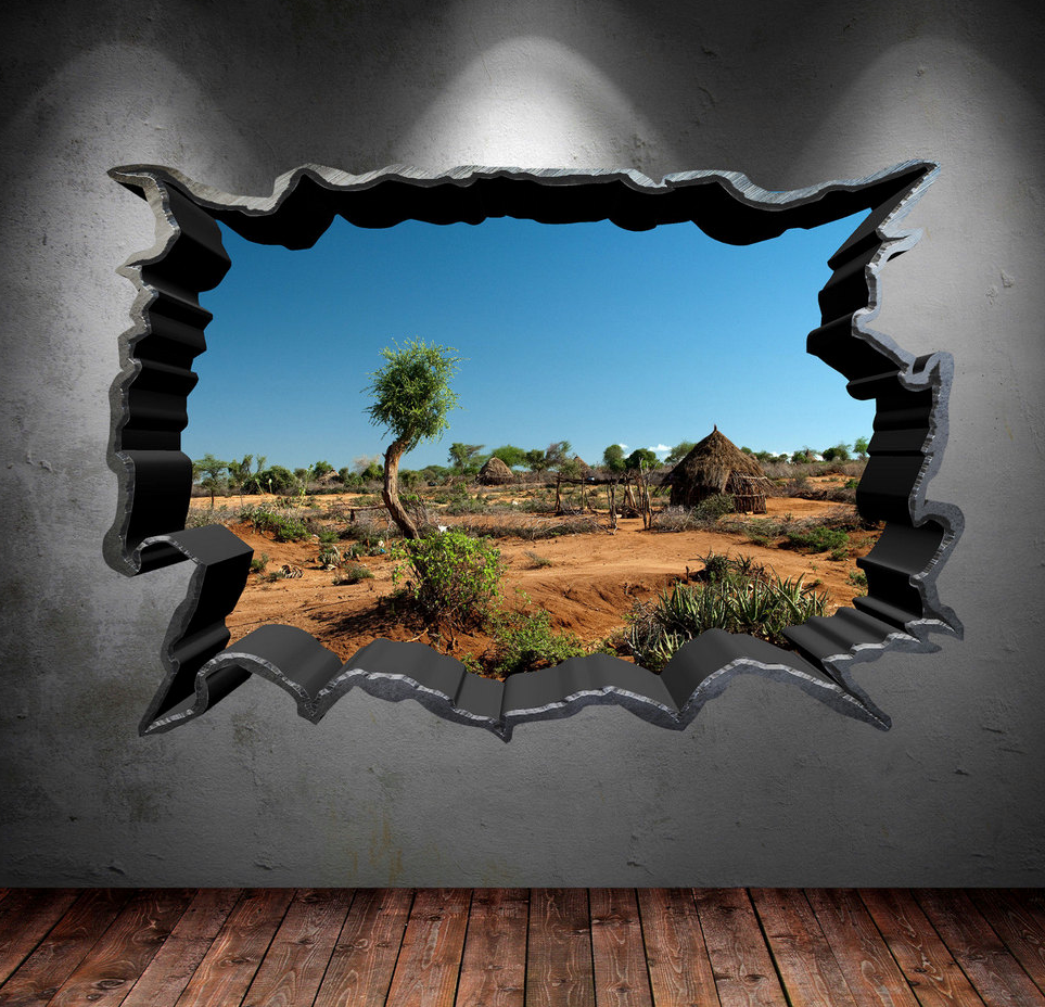 3D Safari Field Wall Sticker WSD39