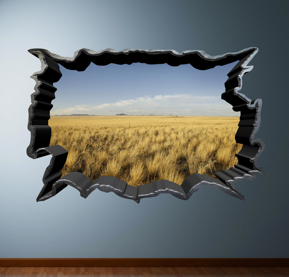 3D Safari Green Field Wall Sticker WSD46