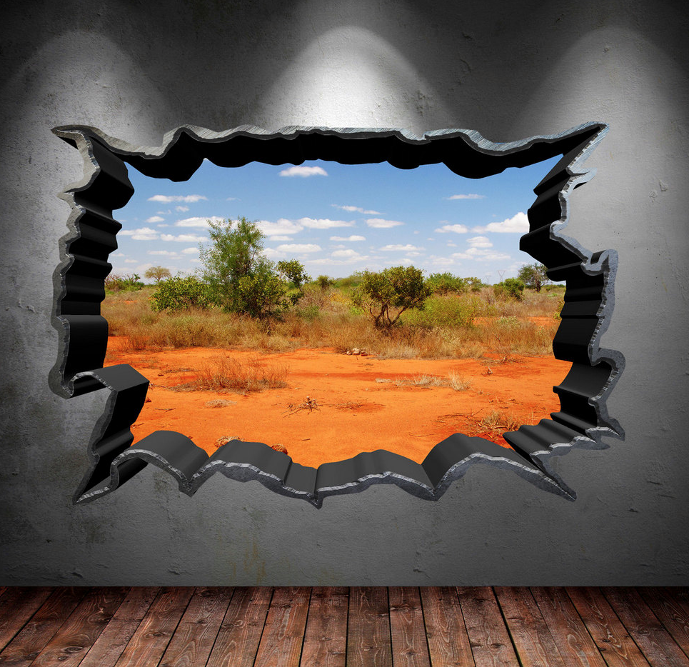 3D Safari Field Wall Sticker WSD49