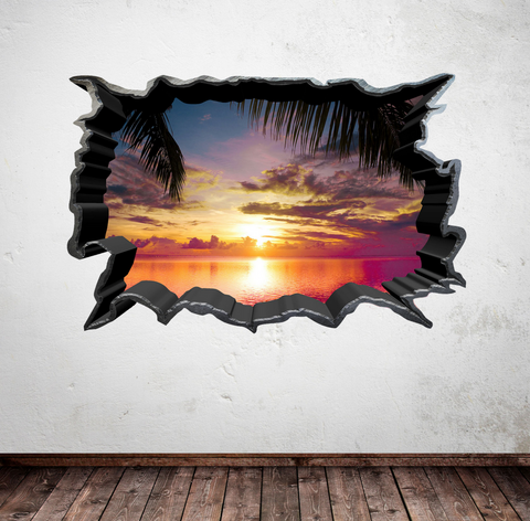 3D Carribean Sunset Wall Sticker WSD241