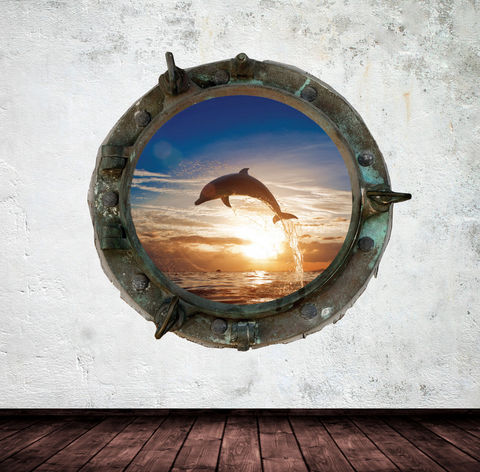 Full Colour 2D Dolphin Porthole Wall Sticker WSD574