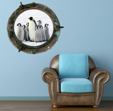 Full Colour 2D Penguin Porthole Wall Sticker WSD621