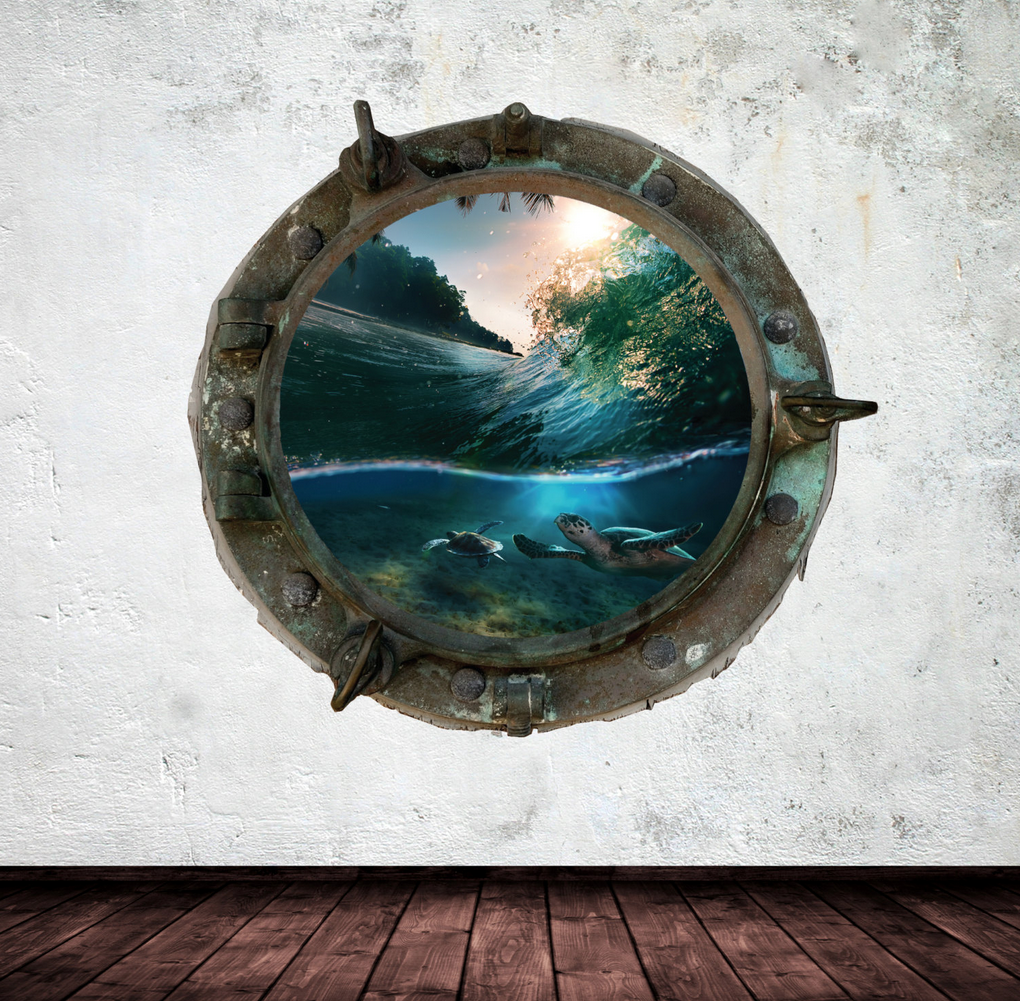 Full Colour 2D Turtles Porthole Wall Sticker WSD340