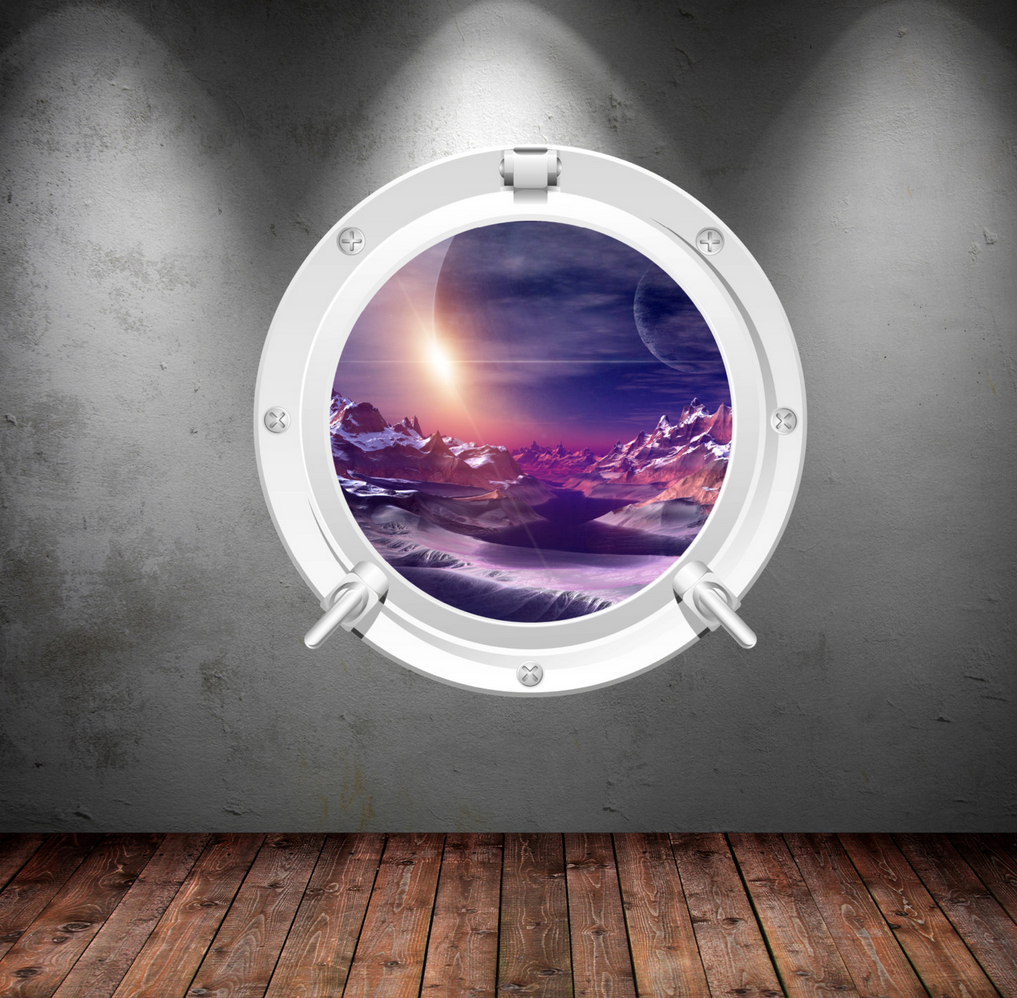 Full Colour 2D Space Porthole Wall Sticker WSD638