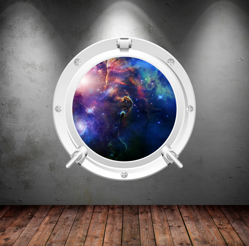 Full Colour 2D Space Porthole Wall Sticker WSD640