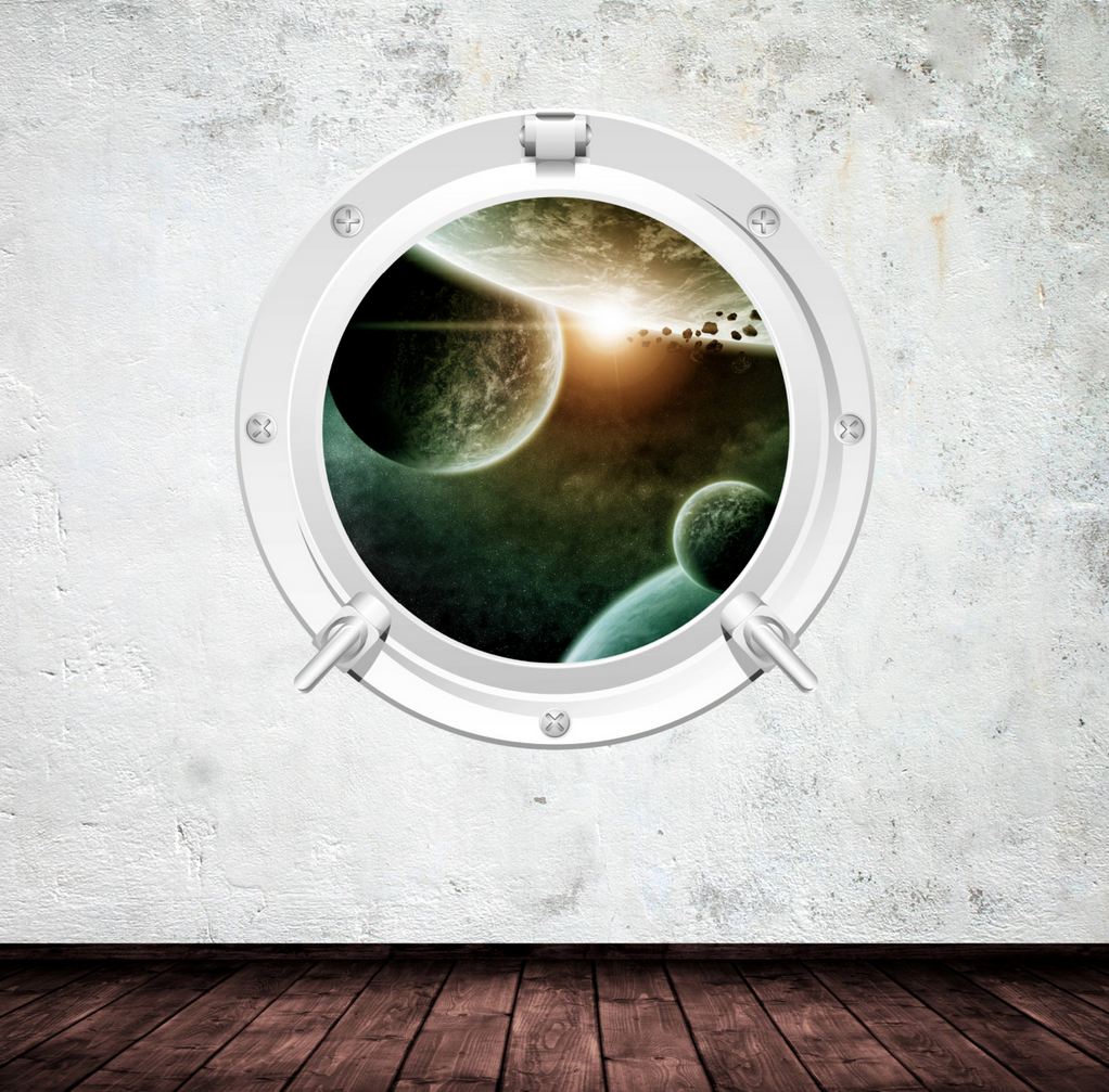 Full Colour 2D Space Porthole Wall Sticker WSD67