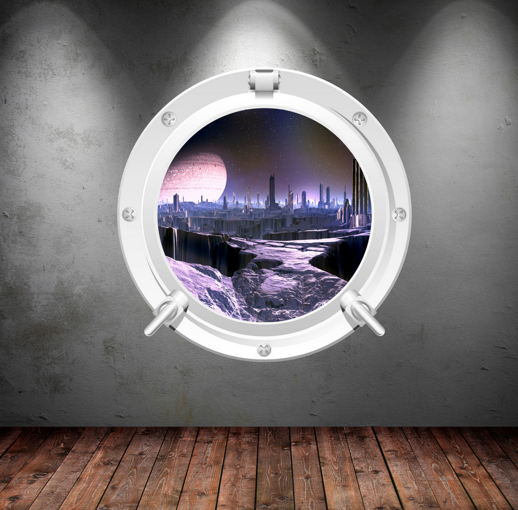 Full Colour 2D Space Porthole Wall Sticker WSD626