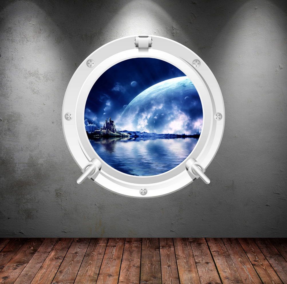 Full Colour 2D Space Porthole Wall Sticker WSD634